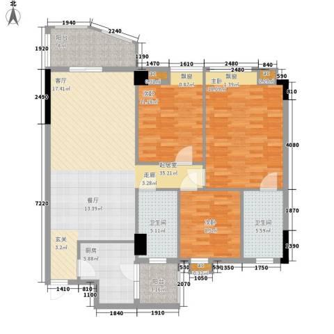 翠屏瀚宇贵都3室0厅2卫1厨112.00㎡户型图