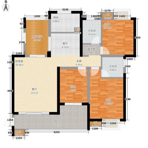 世纪城龙佑苑3室0厅2卫1厨130.00㎡户型图