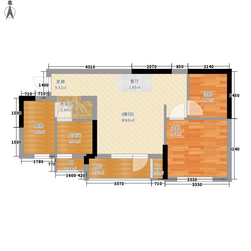 龙阳1号66.00㎡9号楼-D1户型1室1厅