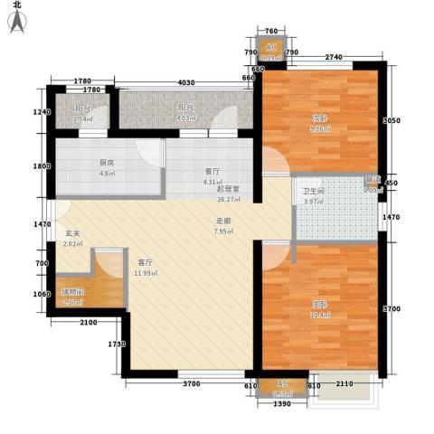 富力城2室0厅1卫1厨88.00㎡户型图