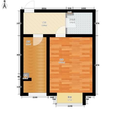 盛唐府邸1室0厅1卫1厨40.00㎡户型图
