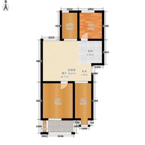 古龙湾2室0厅1卫1厨99.00㎡户型图