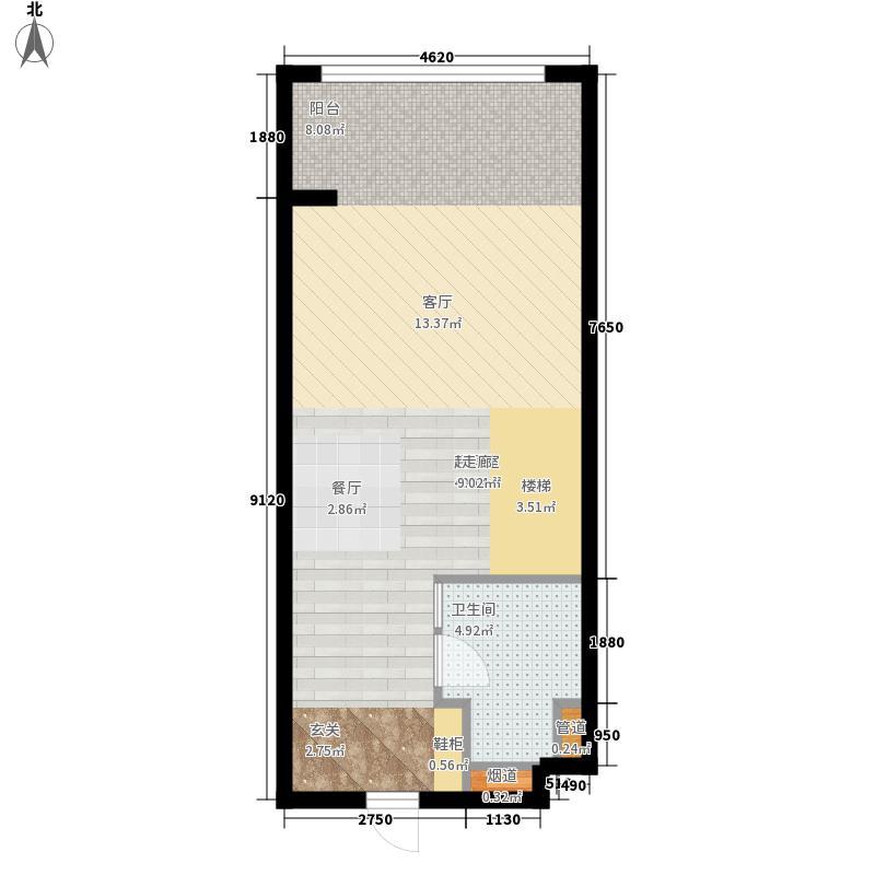云澜湾50.00㎡2#loft复式楼下户型