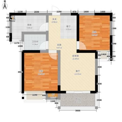 恒大国际公寓2室0厅1卫1厨84.00㎡户型图