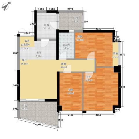 广州雅居乐花园一尺山居3室0厅1卫1厨95.00㎡户型图