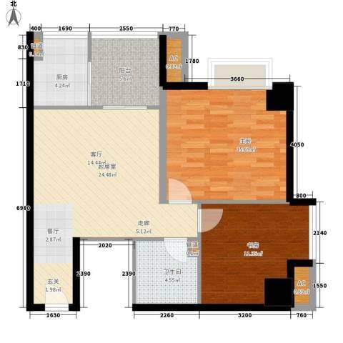 象牙宫寓2室0厅1卫1厨78.00㎡户型图