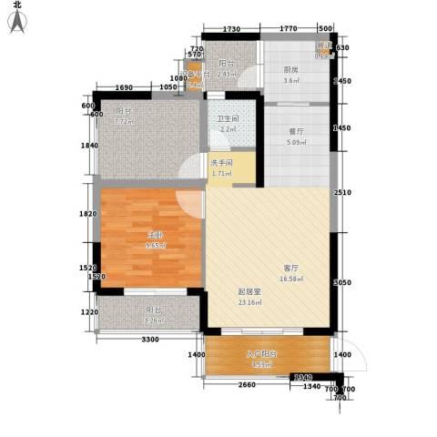 龙光・阳光海岸1室0厅1卫1厨83.00㎡户型图