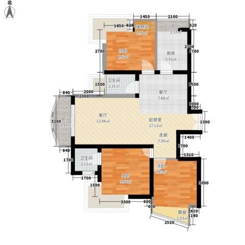 利君明天3室0厅2卫1厨98.00㎡户型图