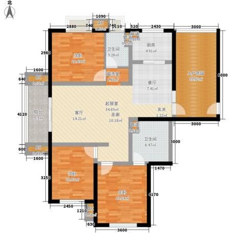 大华阳光曼哈顿3室0厅2卫1厨140.00㎡户型图