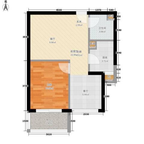 大华阳光曼哈顿1室0厅1卫1厨60.00㎡户型图