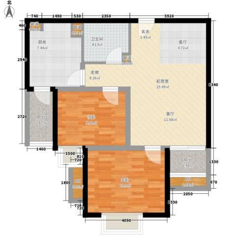象牙宫寓2室0厅1卫1厨76.00㎡户型图