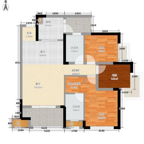朵力尚美国际3室0厅2卫1厨89.00㎡户型图
