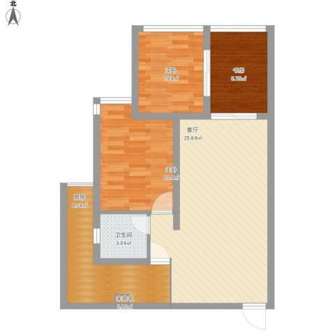 阳光青城3室1厅1卫1厨89.00㎡户型图
