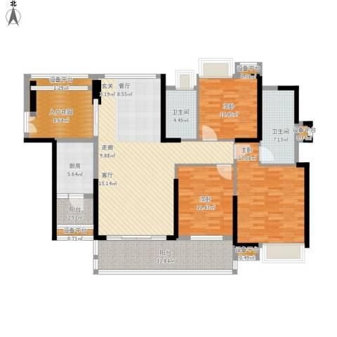 紫园3室1厅2卫1厨174.00㎡户型图