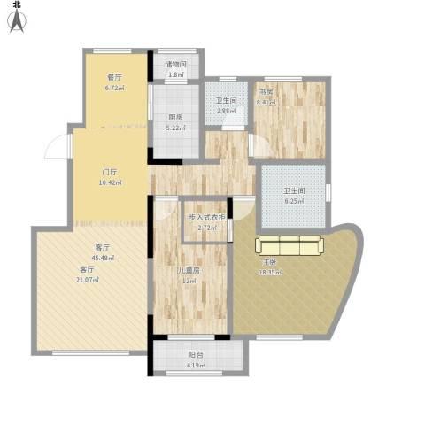 欧洲城枫丹白露3室1厅2卫1厨151.00㎡户型图