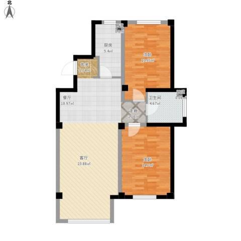 马德里皇家水岸2室1厅1卫1厨110.00㎡户型图