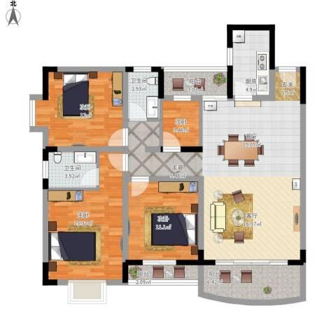 宏华花苑4室1厅2卫1厨149.00㎡户型图