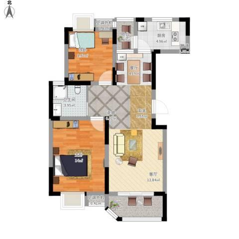 华园四季2室1厅1卫1厨95.00㎡户型图