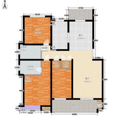 中都沁园3室1厅2卫1厨203.00㎡户型图