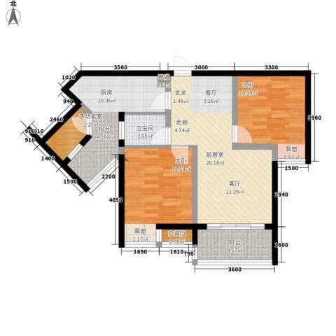 千山美林2室0厅1卫1厨78.00㎡户型图