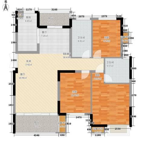 中都沁园3室1厅2卫1厨149.00㎡户型图