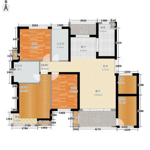 中都沁园2室1厅2卫1厨160.00㎡户型图