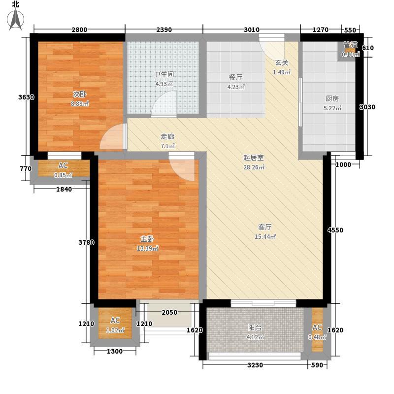 果岭湾88.00㎡9#10#楼R户型2室2厅