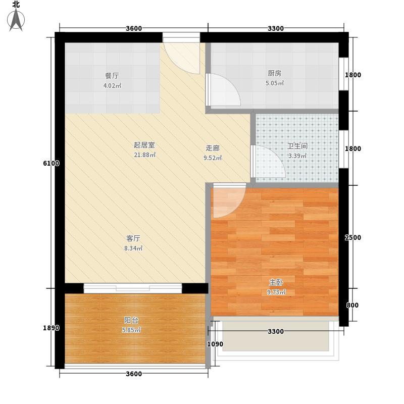 紫云国际73.00㎡1号楼一房一厅一卫一阳台户型1室1厅1卫