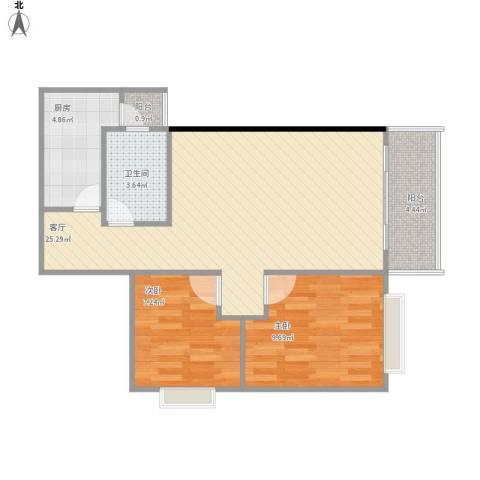 海珠信步闲庭2室1厅1卫1厨76.00㎡户型图