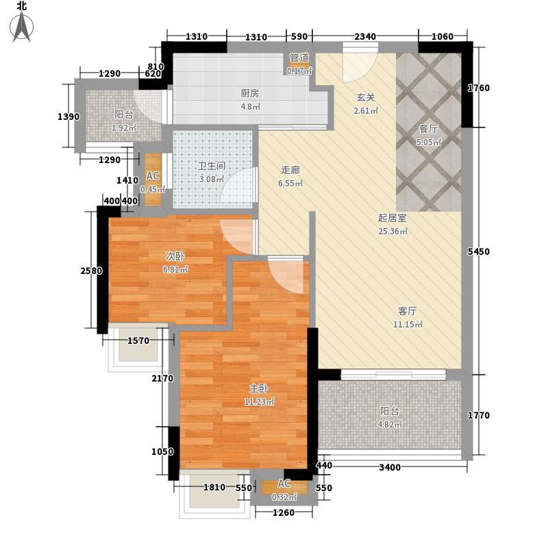 天健上城76.60㎡4栋1单元02/03单位/2单元02/03单位两室户型2室2厅