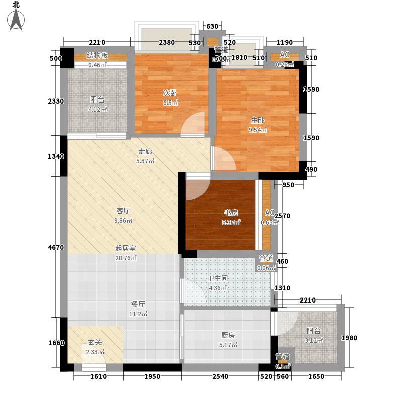 天健上城84.00㎡4栋1单元06单位/4栋2单元07单位三室户型3室2厅