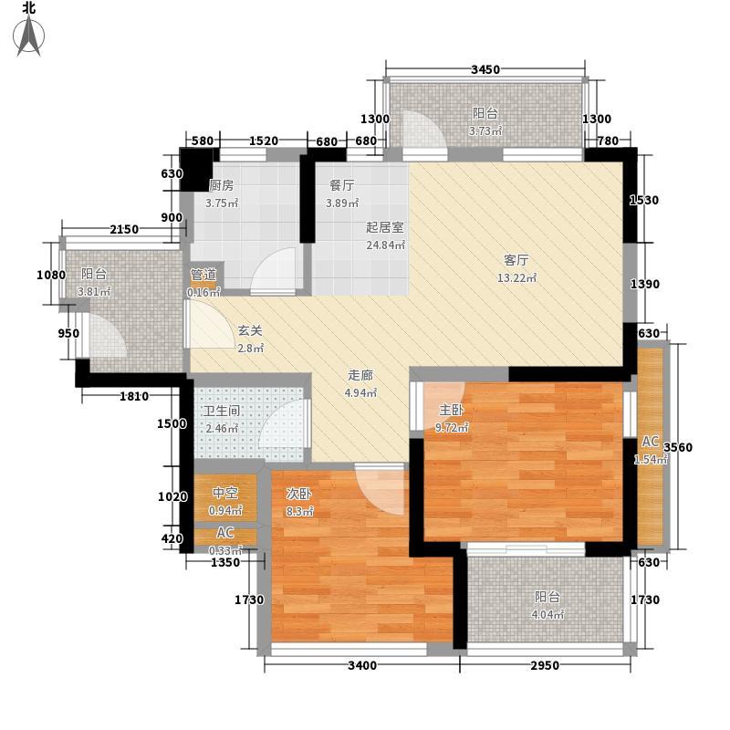 潜龙曼海宁80.26㎡二期43阳台户型2室2厅