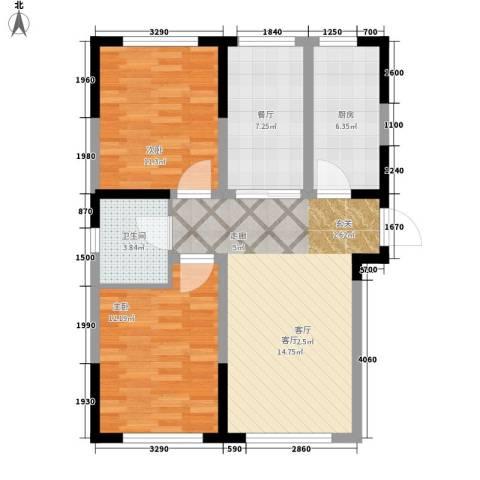 牡丹江国际花都2室2厅1卫1厨73.00㎡户型图