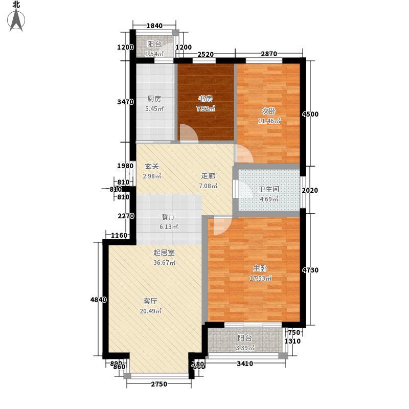 果岭湾114.00㎡花园洋房E户型2室2厅