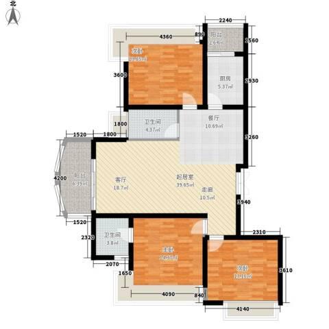 利君明天3室0厅2卫1厨147.00㎡户型图