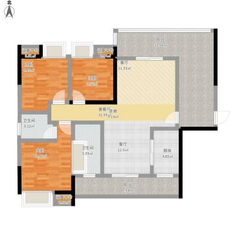 顺祥南洲1号3室1厅2卫1厨156.00㎡户型图