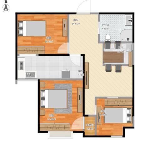 中央名邸3室2厅1卫1厨83.00㎡户型图