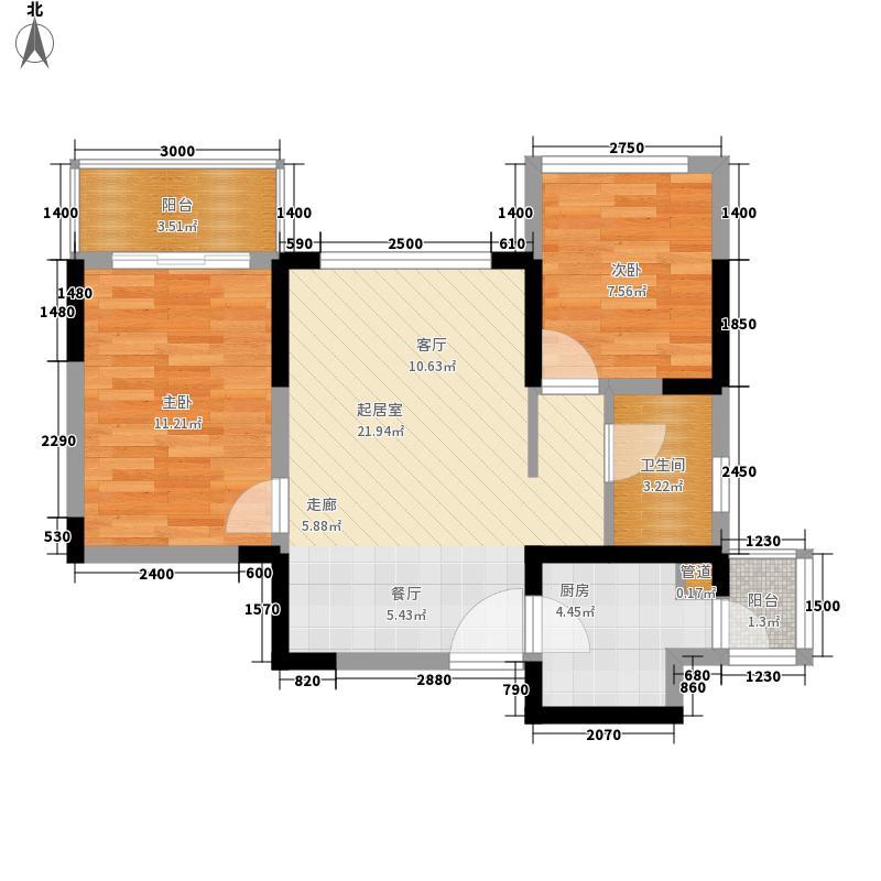 潜龙曼海宁69.18㎡二期32阳台户型2室2厅