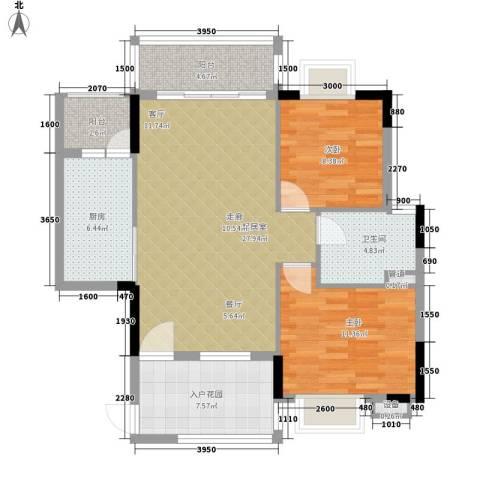 华标荔苑2室0厅1卫1厨90.00㎡户型图