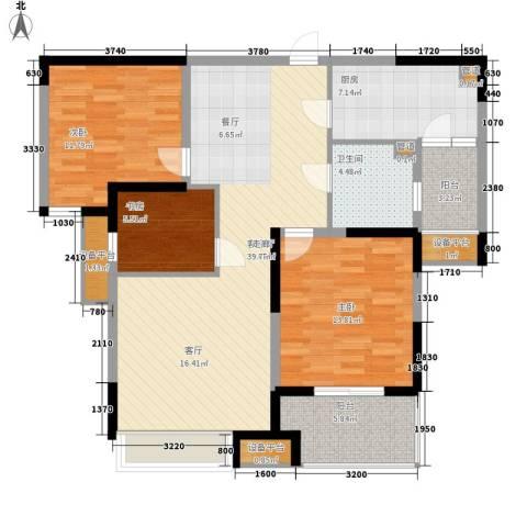 中环紫郡3室1厅1卫1厨101.00㎡户型图
