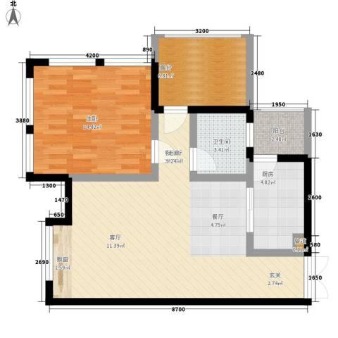 发夏沸城时代1室1厅1卫1厨89.00㎡户型图