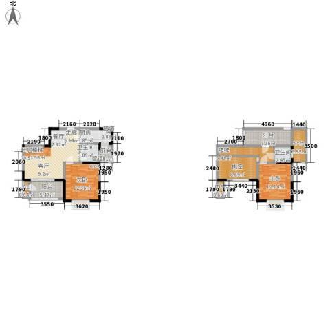 东湖望景苑2室0厅2卫1厨133.00㎡户型图