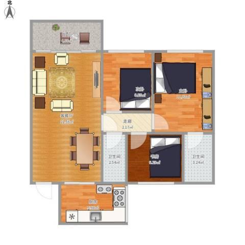 瑞丽花园3室1厅2卫1厨88.00㎡户型图