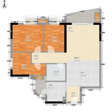 宏康东筑3室1厅1卫1厨95.00㎡户型图