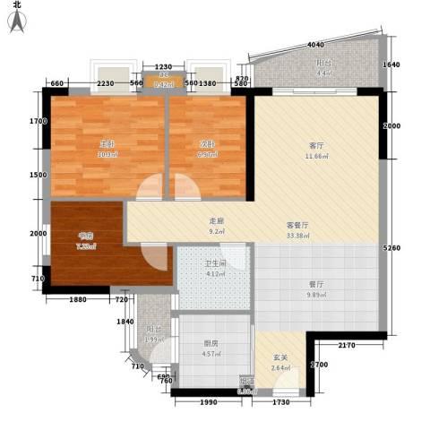 宏康东筑3室1厅1卫1厨87.00㎡户型图