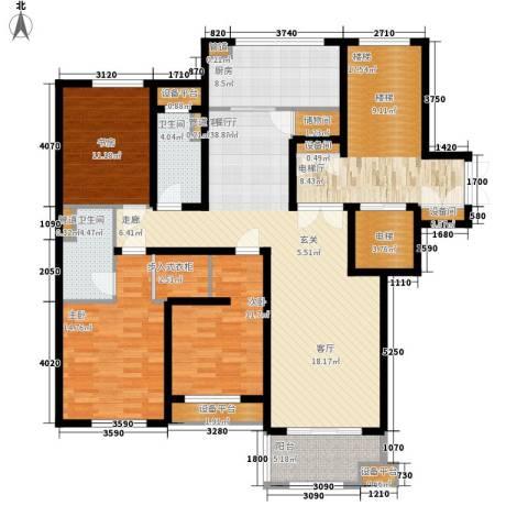 绿城百合花园3室1厅2卫1厨140.00㎡户型图