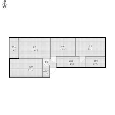 六中宿舍3室1厅1卫1厨69.00㎡户型图