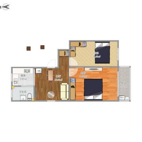 淞南七村2室1厅1卫1厨64.00㎡户型图