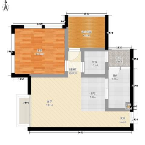 发夏沸城时代1室1厅0卫2厨74.00㎡户型图