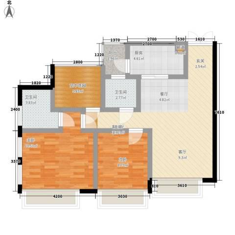 发夏沸城时代2室1厅2卫1厨99.00㎡户型图